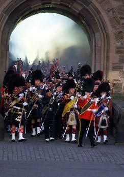 Massed bands march on parade
